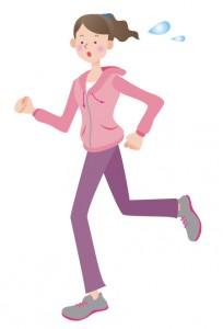 元気良くジョギングしている女性のイラスト