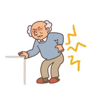 坐骨神経痛を訴える男性のイラスト