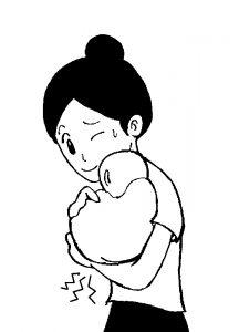 赤ちゃんを抱っこした時に手首が痛い女性イラスト
